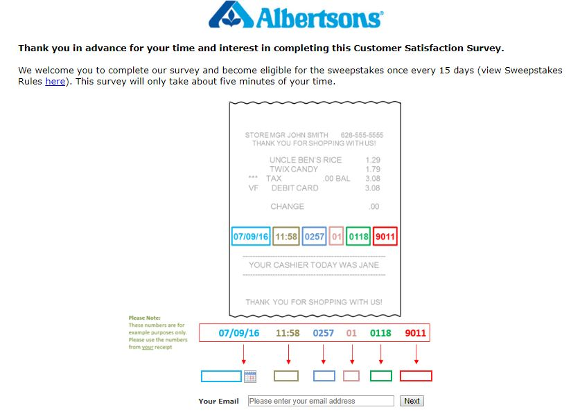 Albertsons Survey details