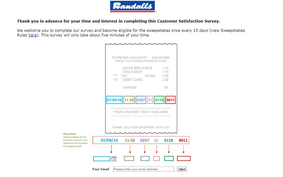randalls survey feedback