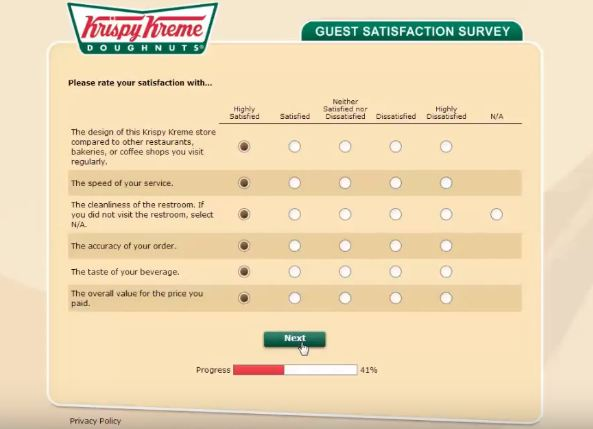 Krispy Kreme survey steps