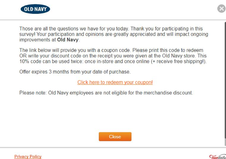 old navy survey code