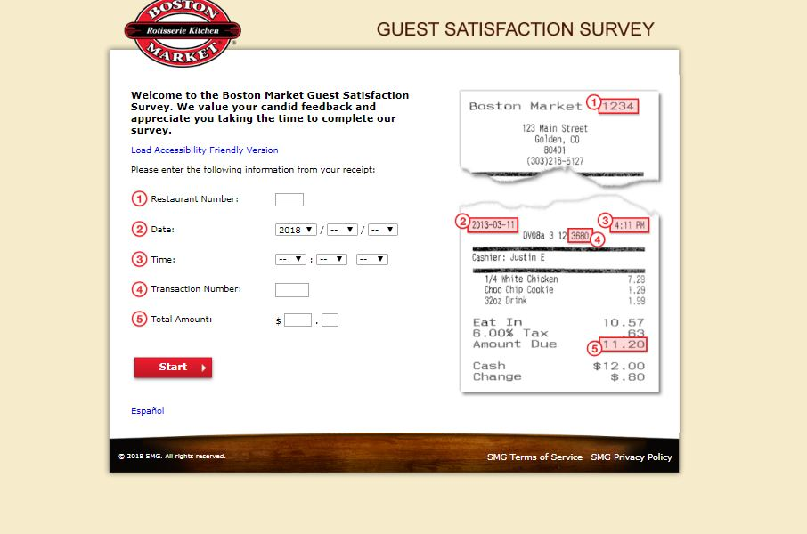 boston market survey code