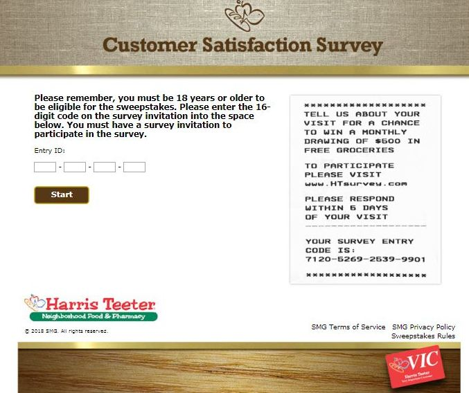 harris teeter survey code