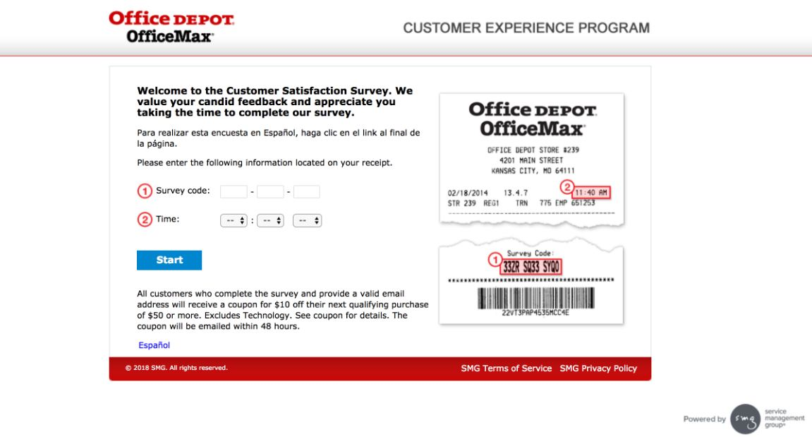 office depot survey code