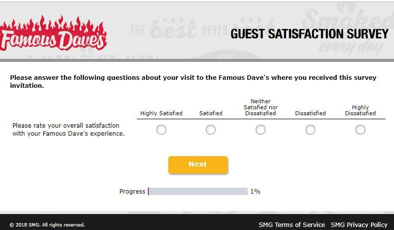 Famous Daves Survey